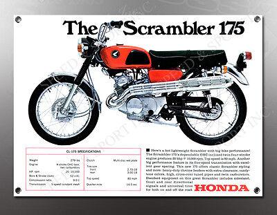 VINTAGE HONDA THE SCRAMBLER 175 IMAGE BANNER NOS IMAGE REPRODUCTION