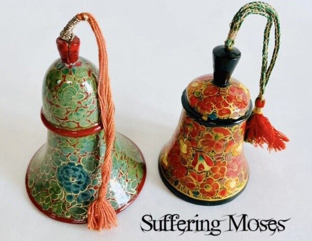 Vintage Suffering Moses Hand Painted Wood Bells Lacquer Srinagar-Kashmir India