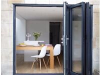 NEW 3 Door Bi Folding Doors Plus Two Matching 3 Way Opening Windows