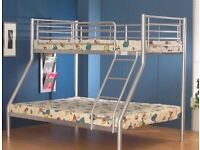 kids bed/Trio Metal Bunk Bed Frame-optional mattress-call now