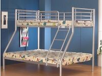 Brand New -- Metal Trio Sleeper Bunk Bed With 2 Mattresses -- Cheapest Price -- Same Day Delivery