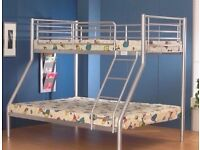 FLAT 70% OFF SALE NOW- BRAND NEW TRIO SLEEPER METAL BUNK BED SAME DAY EXPRESS DELIVERY
