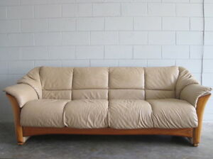 ekornes stressless sofa couch leather danish modern paloma sand teak oslo 4 seat ebay. Black Bedroom Furniture Sets. Home Design Ideas