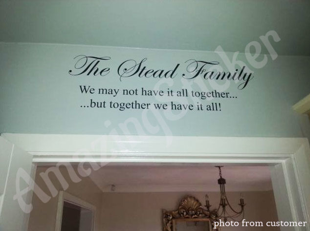 Large Personalised Family Name Art Wall Quotes / Wall Stickers / Wall Decals