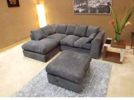 Dylan Jumbo Cord Corner Or 3 + 2 Grey Sofa
