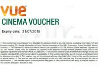 6 Vue Cinema Ticket Vouchers