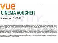 6 Vue Cinema Ticket Vouchers