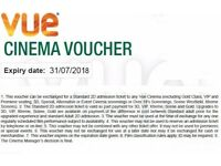 5 Vue Cinema Ticket Vouchers.