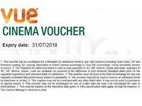 5 Vue Cinema Ticket Vouchers