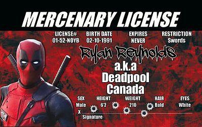 Deadpool ID Card - Plastic Collectors Card Marvel Comics prop costume cosplay