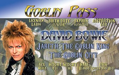 Mr David Bowie Drivers License Goblin King Labyrinth fun for Halloween costume - David Bowie Costume Halloween