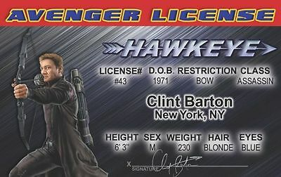 HAWKEYE the archer the Avengers Marvel Comic Jeremy Renner card Drivers License (Avengers Archer)