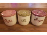 Next home tea coffee sugar canisters / ceramic pots