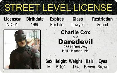 Halloween Costume Gear THE DEFENDERS Daredevil Charlie Cox Drivers License
