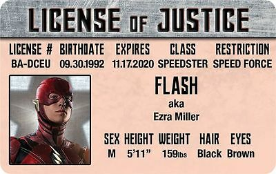 Halloween Costume id The JUSTICE LEAGUE of AMERICA Flash drivers License  (Justice League Of America Kostüme)