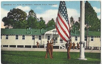 WWII Original 1940s Linen Army PC- Retreat- Lowering the Flag- Keesler Field MS