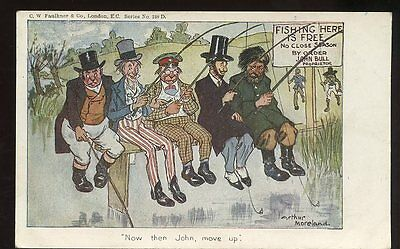 Political FISHING Arthur Moreland Comic John Bull  1905 PPC Free Trade debate
