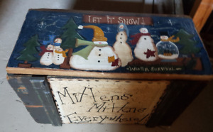 Hand-painted Wooden Box - perfect for mittens at the back door!