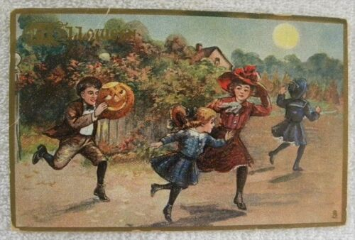 1916 Boy & JOL Chasing Girls, Full Moon, Tucks No.183 Halloween postcard