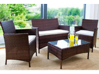 Brand new in box rattan garden or patio furniture set table chairs cushions glass