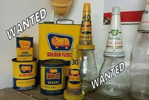 ALL BRANDS.. SIGNS OIL BOTTLE TINS CANS WANTED Rutherford Maitland Area Preview