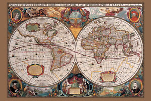 17TH CENTURY MAP OF THE WORLD GOLD METALLIC INK 91.5 X 61CM MAXI POSTER