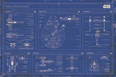 Poster STAR WARS - Rebel Alliance Fleet - Blueprint 91,5x61cm NEU 58199