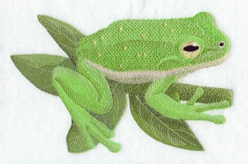 Embroidered Ladies Short-Sleeved T-Shirt - Green Tree Frog D1788 Size S - XXL