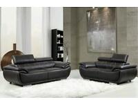 Black Leather Head Rest 3 & 2 Seater (New)