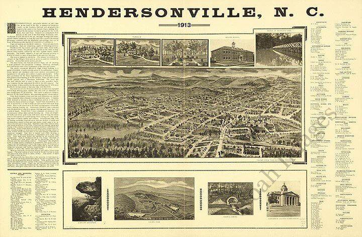 Hendersonville North Carolina c1913 map 24x18