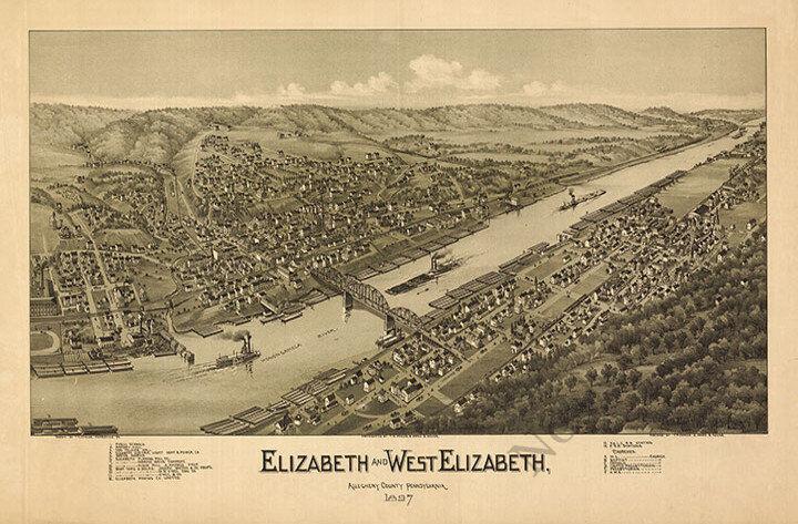 Elizabeth and West Elizabeth PA c1897 map 36x24