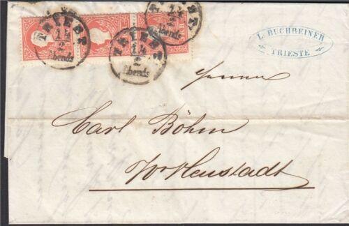 Österreich 1858 Nr. 13 I Dreierstreifen auf Brief Befund BPP