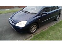 03 REG HONDA CIVIC, 1.6 PETROL, LONG MOT, ONLY 2 OWNERS, GREAT CAR
