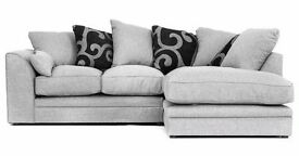 **12 MONTH WARRANTY!** Darcy Luxury Fabric Corner Sofa Suite **FREE UK DELIVERY**