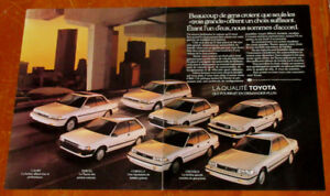 1989 TOYOTA CAMRY COROLLA TERCEL CRESSIDA FRENCH AD - ANONCE 80S