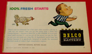 1960 DELCO DRY CHARGING VINTAGE CAR BATTERY AD - ANONCE