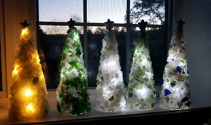 Seaglass Christmas trees