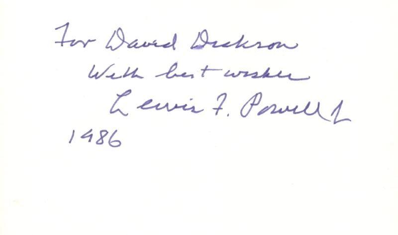 LEWIS F. POWELL JR. - INSCRIBED SIGNATURE 1986