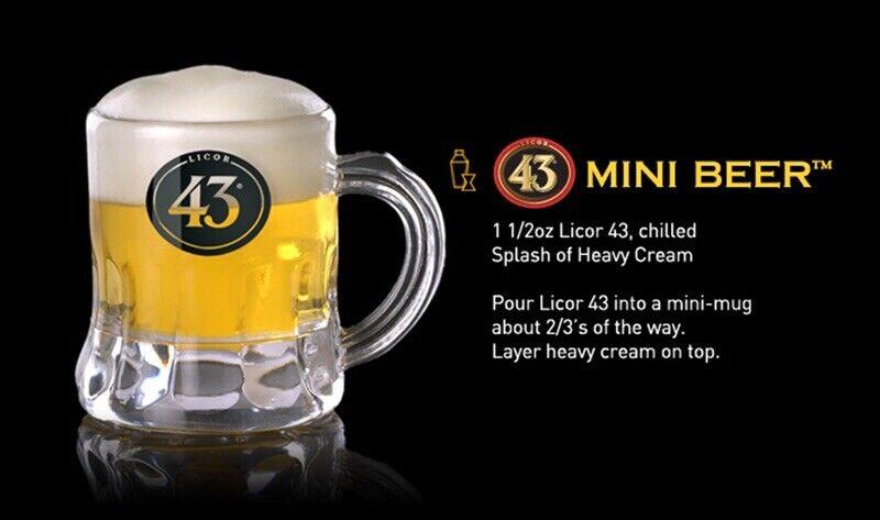 Set of 6 Licor 43 Beer Mug Shot Glasses Embossed Bottom