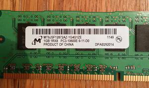 RAM - DDR3 type - 4GB (4 x 1GB sticks) Cambridge Kitchener Area image 3