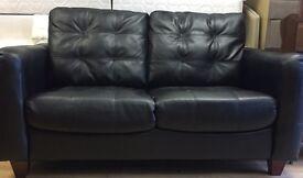 2 seat black leather sofa