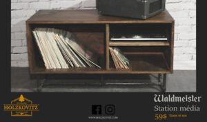 Meuble table tournante / station audio en bois recyclé