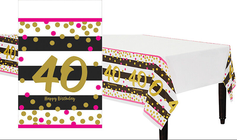 Pink and Gold 40th Birthday Table Cover ~ Milestone Fortieth