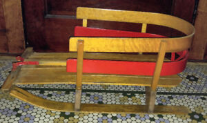 Vintage Wooden Baby Pull Handle Sled