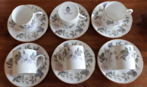 6 Royal Worcester Demi-Tasse Cups and Saucers
