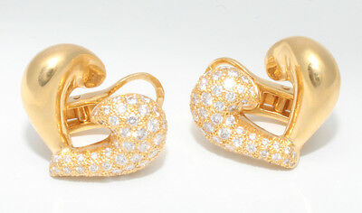 VAN CLEEF 18K YELLOW GOLD & 1.25 TCW DIAMOND PAVE HEART CLIP ON EARRINGS