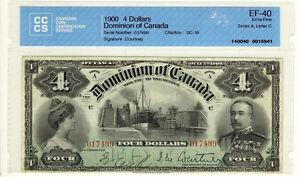 RECHERCHE BILLET DE $4.00 1900 GRADÉ : EF40