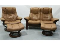 Ekornes stressless 2 seat recliner & 1 x chair recliner and 2 stools 21120