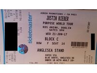 Justin Bieber RDS 21 Jun-17 - 3 seated tickets - £100 for the three !