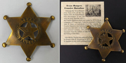 Texas Ranger Badge, antiqued brass, old west, western, boxed, D
